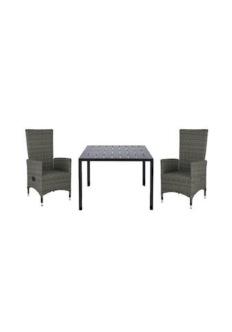 HOMEXPERTS Gartenmöbelset »Malta«, 3 - tlg., 2 Sessel, Tisch 90x90 cm, Alu/Polyrattan kaufen