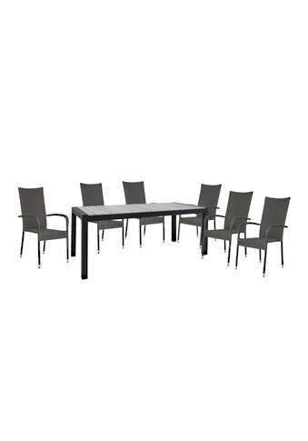 HOMEXPERTS Gartenmöbelset »Malta«, 7 - tlg., 6 Stühle, Tisch 205x90 cm, Alu/Polyrattan kaufen