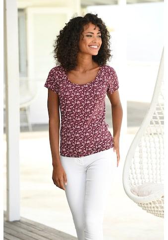 Vivance T-Shirt, mit gerafftem Rundhalsausschnitt kaufen