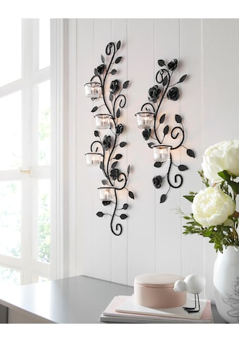 Home affaire Wandkerzenhalter »Blumenranke«, Wandleuchter, Wanddeko, Wanddekoration, mit Used-Effekt kaufen