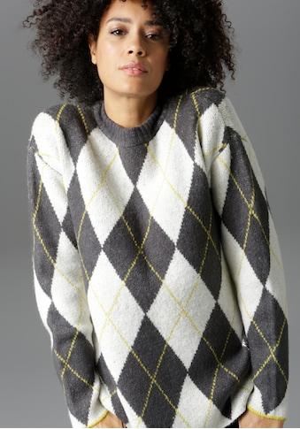 Aniston CASUAL Rundhalspullover, mit Rauten-Muster kaufen