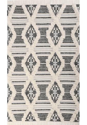 TOM TAILOR Teppich »Cozy Kelim«, rechteckig, 5 mm Höhe, handgewebt, mit Fransen,... kaufen