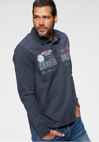 Man's World Langarm-Poloshirt, mit aufwendigem Front- Print kaufen