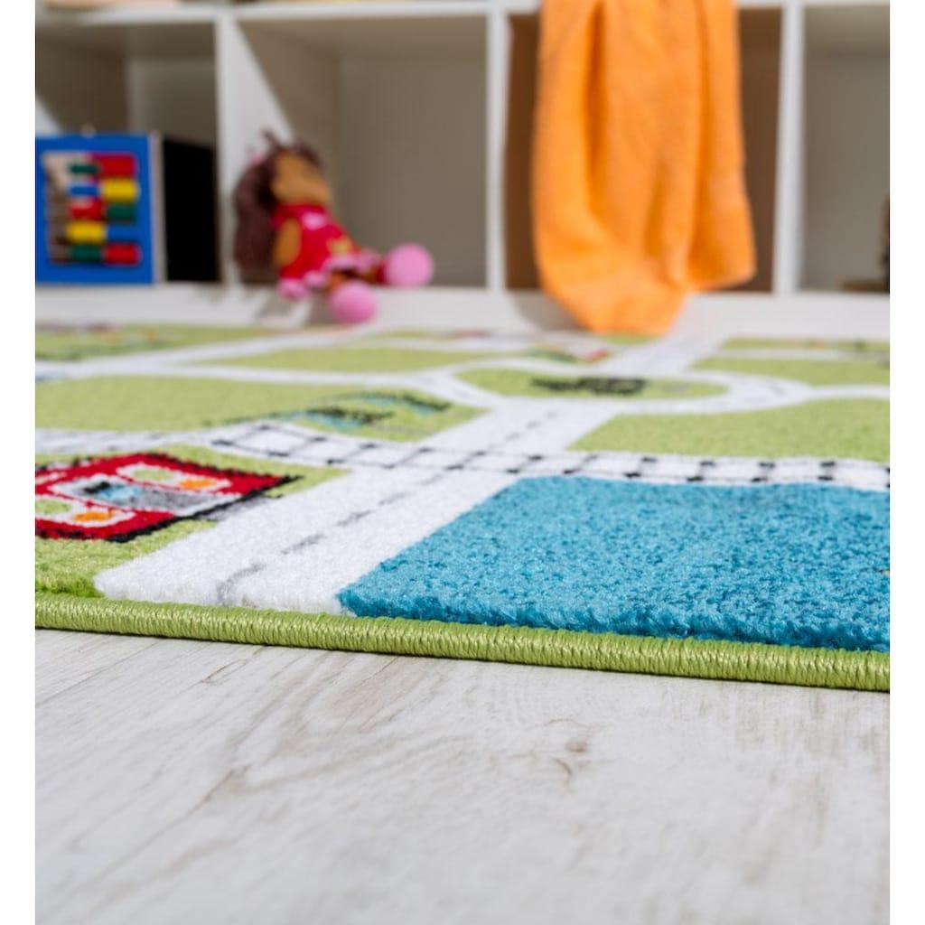 Paco Home Kinderteppich »ECE Strasse 994«, rechteckig, 14 mm Höhe, Kurzflor, Strassen-Spielteppich