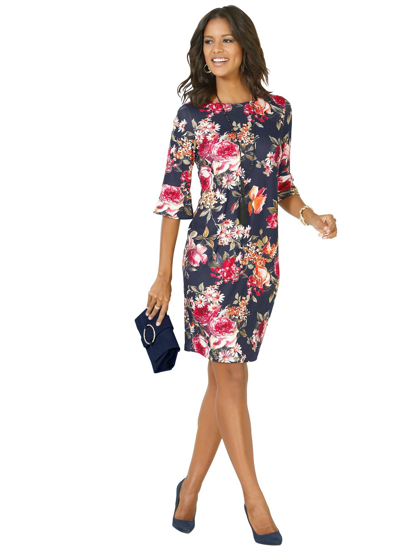 Image of Lady Jersey-Kleid mit hinreissendem Blumen-Muster