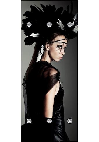 queence Garderobenpaneel »Frau mit Kopfschmuck«, mit 6 Haken, 50 x 120 cm kaufen