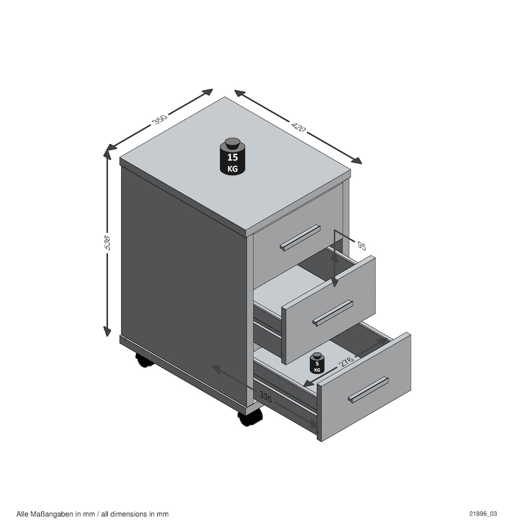FMD Rollcontainer »Diego 2«, mit 3 Schubkästen