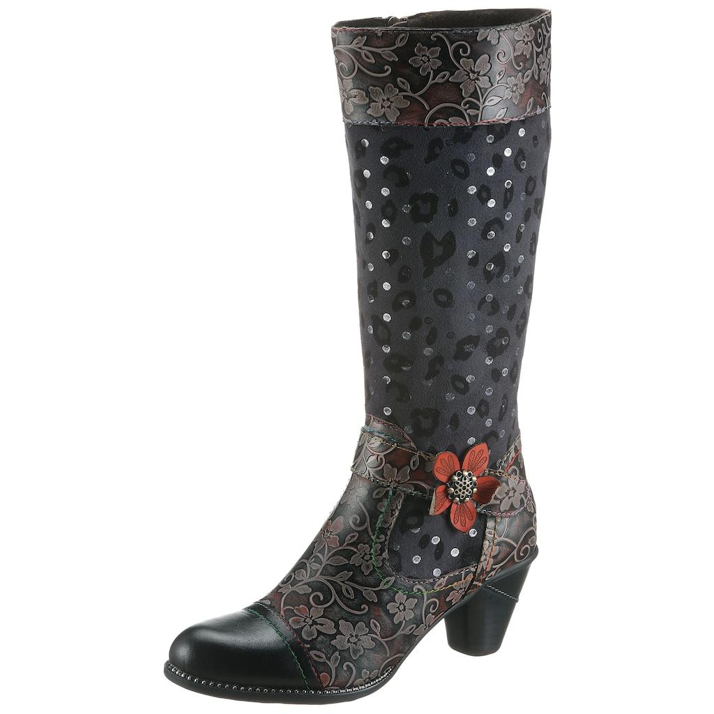 LAURA VITA Stiefel »Alcizeeo«, mit auffälliger Blüte