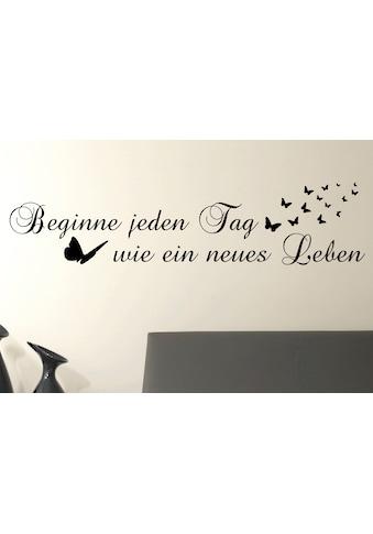 QUEENCE Wandtattoo »Beginne jeden Tag…«, dunkelgrau, 118 x 29 cm kaufen