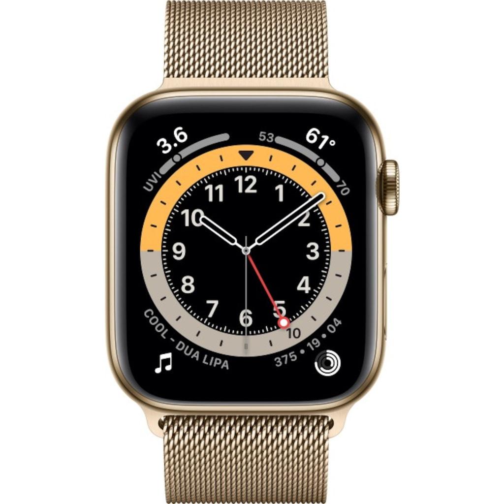 Apple Smartwatch »Apple Watch Series 6 GPS + Cellular, Edelstahlgehäuse, 44 mm mit Milanaise Armband«,