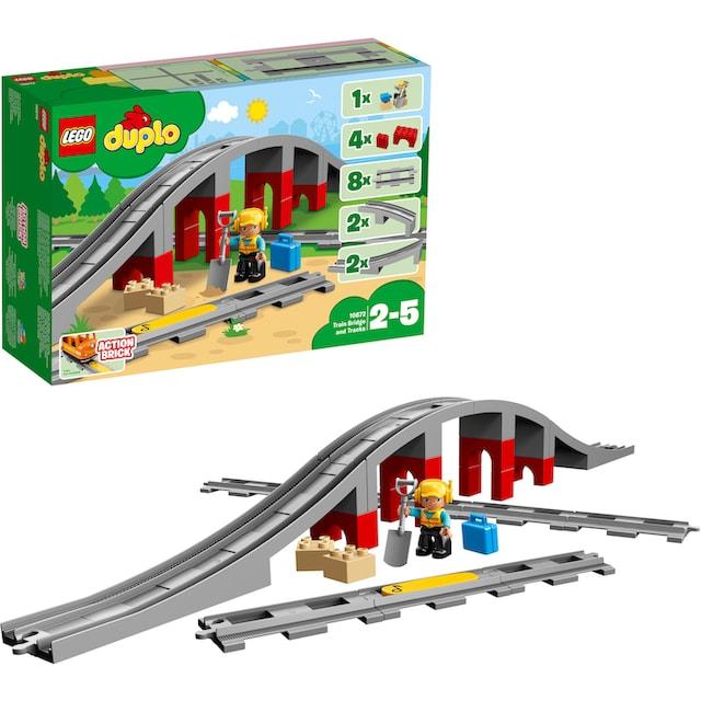 """LEGO® Konstruktionsspielsteine """"Eisenbahnbrücke und Schienen (10872), LEGO® DUPLO® Town"""", Kunststoff, (26-tlg.)"""