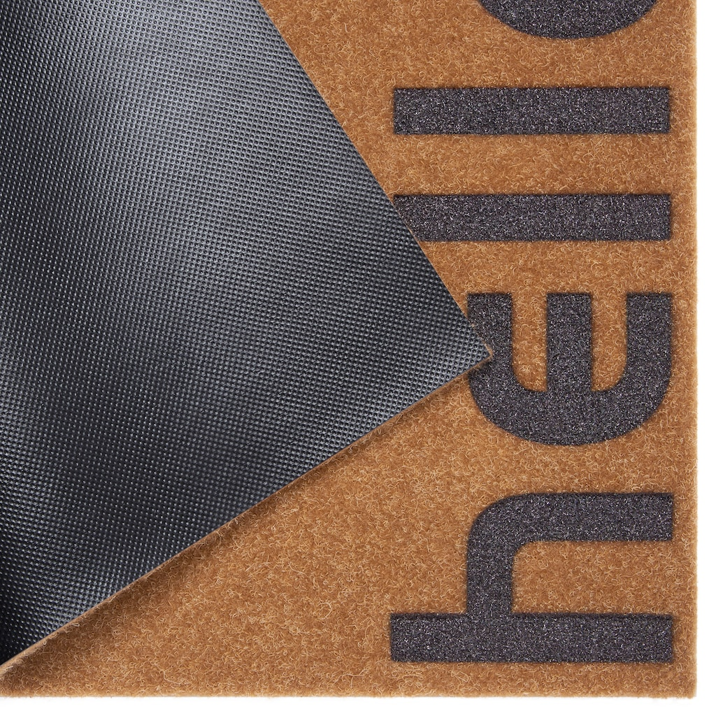 andas Fussmatte »Hello klein«, rechteckig, 10 mm Höhe, Fussabstreifer, Fussabtreter, Schmutzfangläufer, Schmutzfangmatte, Schmutzfangteppich, Schmutzmatte, Türmatte, Türvorleger, mit Spruch, In- und Outdoor geeignet, Kokos-Optik