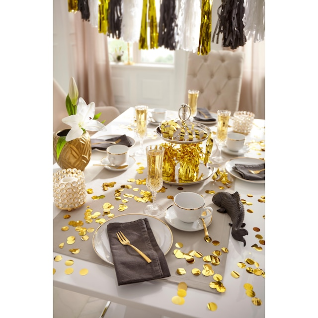 """Guido Maria Kretschmer Home&Living Kaffeeservice """"Goldfarbenen Line"""" (18-tlg.), Porzellan"""