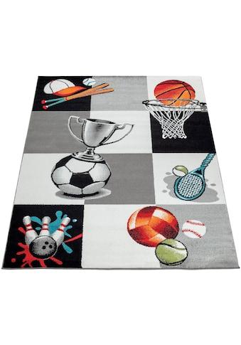 Paco Home Kinderteppich »ECE 962«, rechteckig, 14 mm Höhe, Kurzflor mit Sportarten Motiven kaufen