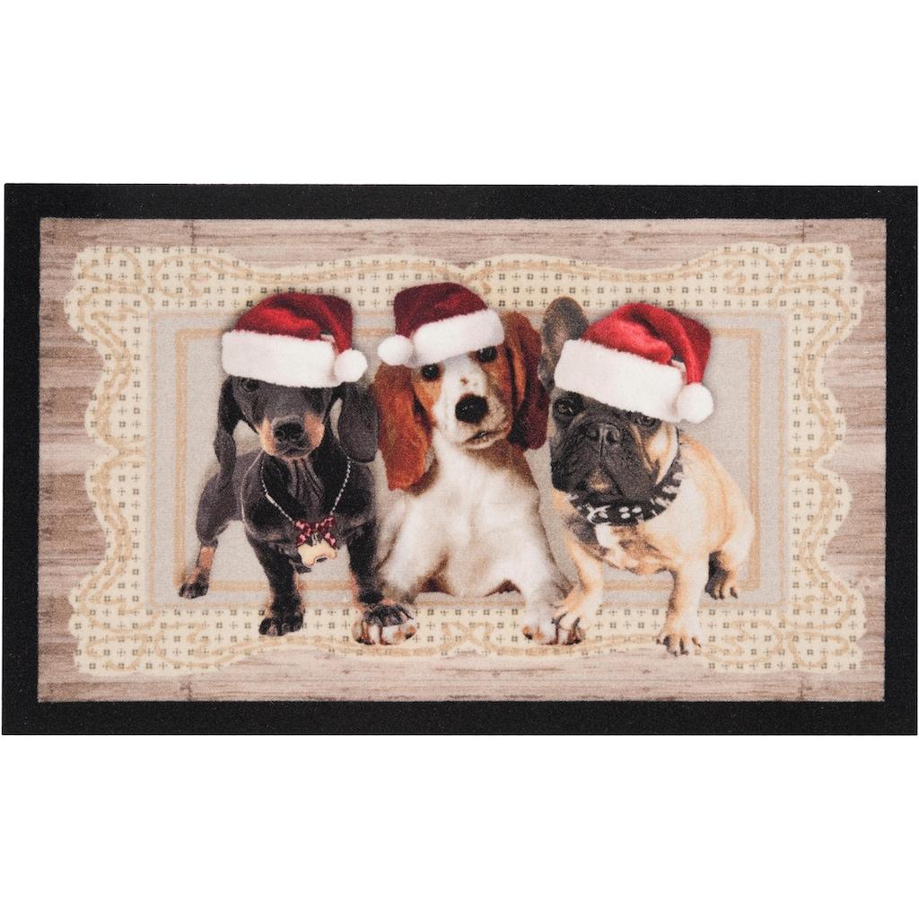 HANSE Home Fussmatte »Christmas Dogs II«, rechteckig, 7 mm Höhe, Fussabstreifer, Fussabtreter, Schmutzfangläufer, Schmutzfangmatte, Schmutzfangteppich, Schmutzmatte, Türmatte, Türvorleger, In- und Outdoor geeignet