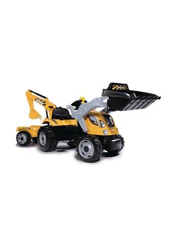 Smoby Trettraktor »Builder Max, gelb«, mit Heckbagger, Frontlader und Anhänger kaufen