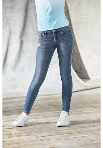 Bench. Stretch-Jeans, mit dezenten Abriebeffekten in Super Skinny kaufen
