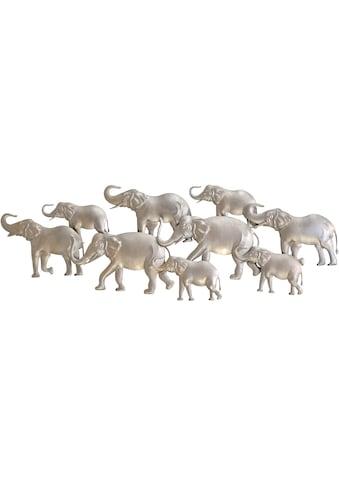 HOFMANN LIVING AND MORE Wanddekoobjekt »Elefantenfamilie, silberfarben«, Wanddeko, aus... kaufen