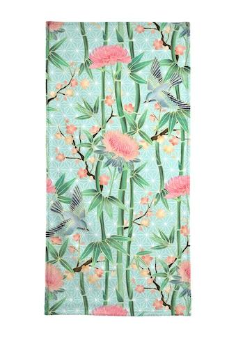 Juniqe Handtuch »Bamboo Birds and Blossom Mint«, (1 St.), Weiche Frottee-Veloursqualität kaufen