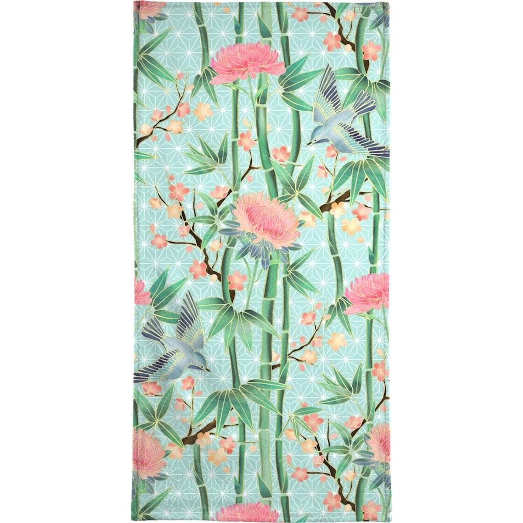 Juniqe Handtuch »Bamboo Birds and Blossom Mint«, (1 St.), Weiche Frottee-Veloursqualität