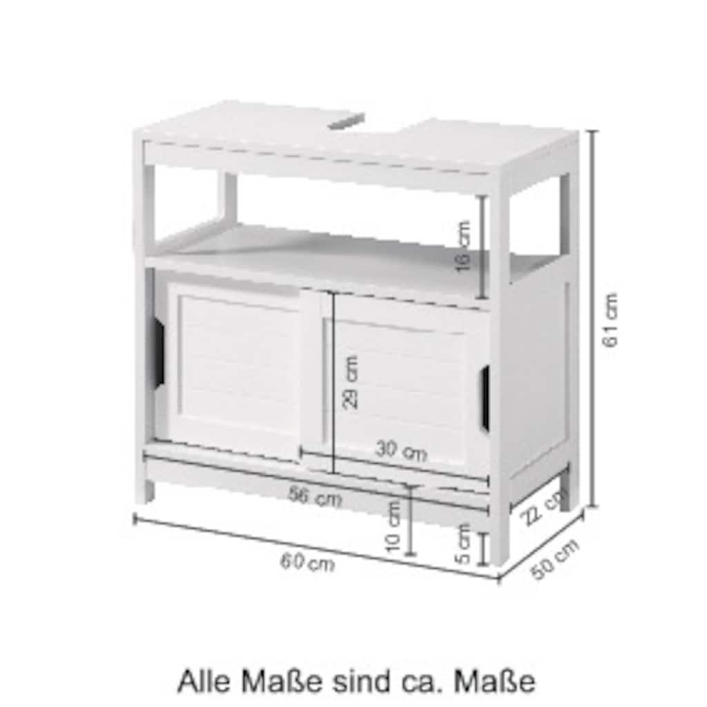 Phoenix Waschbeckenunterschrank »Hamburg«, (Packung), Badmöbel mit Schiebetüren, Ablage und Siphonausschnitt
