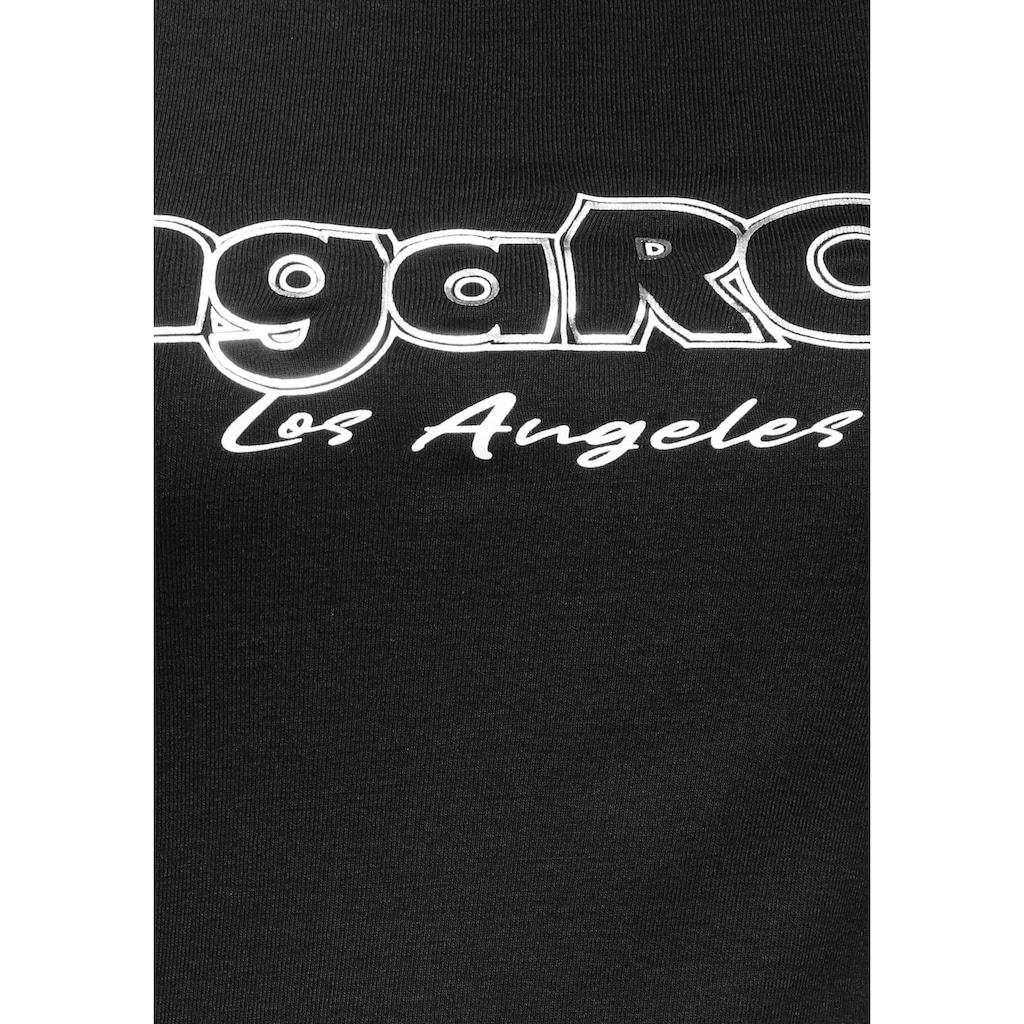 KangaROOS Langarmshirt, mit Druck und Streifen am Ärmel