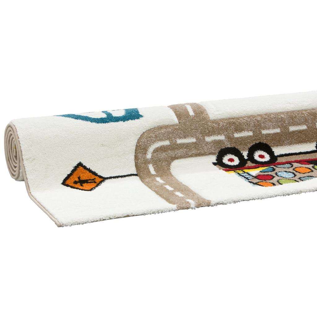 Lüttenhütt Kinderteppich »Strassen«, rechteckig, 13 mm Höhe, handgearbeiteter Konturenschnitt, Strassen-Spielteppich