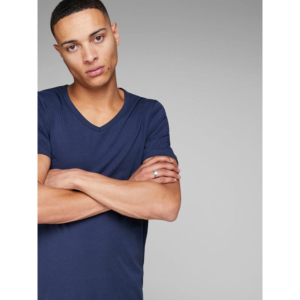 Jack & Jones T-Shirt »SLIM- FIT BASIC TEE V-NECK«, mit V-Ausschnitt