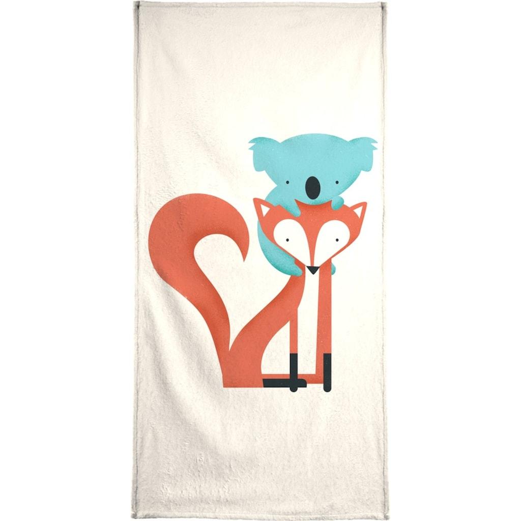 Juniqe Handtuch »Fox and Koala«, (1 St.), Weiche Frottee-Veloursqualität
