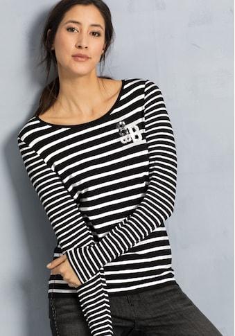bianca Langarmshirt »DAMI«, Streifenshirt mit kleinem Motiv aus Wendepailetten kaufen
