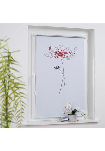 Liedeco Seitenzugrollo »Druckdesign Blume«, verdunkelnd, energiesparend, ohne Bohren, freihängend, Klemmfix Rollo Design Blume kaufen