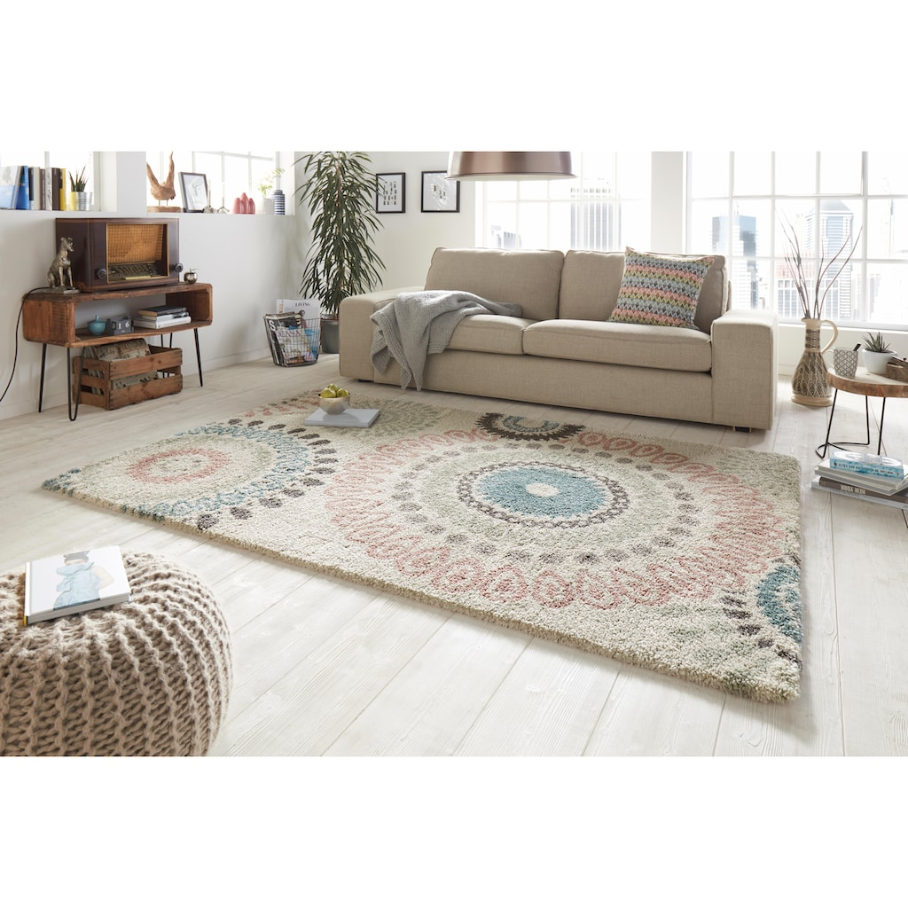MINT RUGS Hochflor-Teppich »Globe«, rechteckig, 35 mm Höhe, Langflor, Mandala Optik, Wohnzimmer