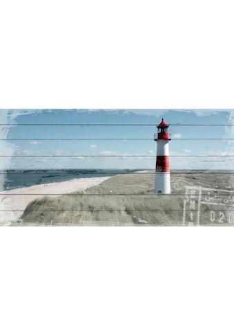 QUEENCE Holzbild »Leuchtturm in Dünen«, 40x80 cm Echtholz kaufen