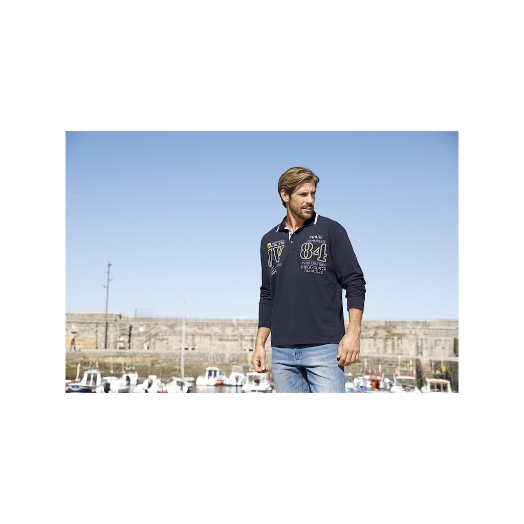Jan Vanderstorm Langarm-Poloshirt »RADOMIR«, Seitenschlitze, Comfort Fit