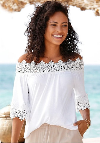 LASCANA Carmenshirt, mit edlem Spitzenbesatz kaufen