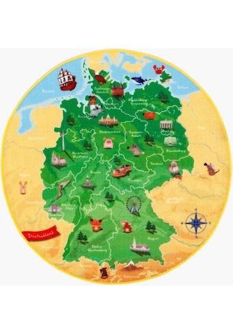 Kinderteppich, »DeutschlandKarte DE - 1«, Böing Carpet, rund, Höhe 2 mm, gedruckt kaufen