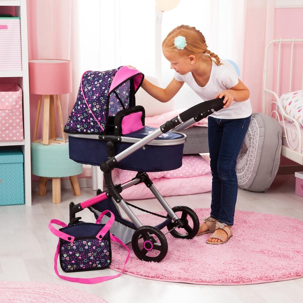 Bayer Kombi-Puppenwagen »Vario, Blau/Pink/Herzchen«, inkl. Wickeltasche