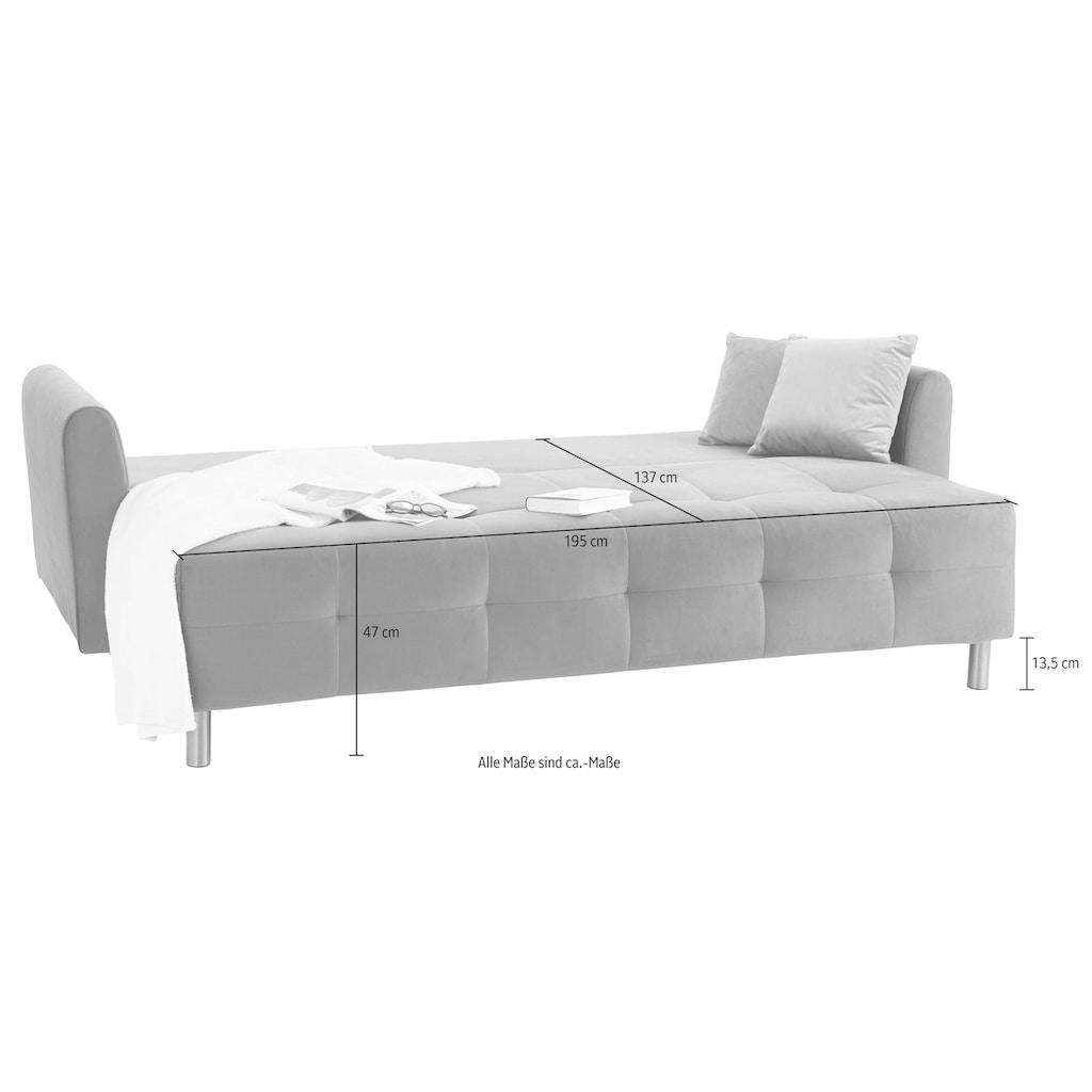 INOSIGN Schlafsofa »Nordic metallic«, mit Federkern und Metallbeinen, Steppung im Sitzbereich