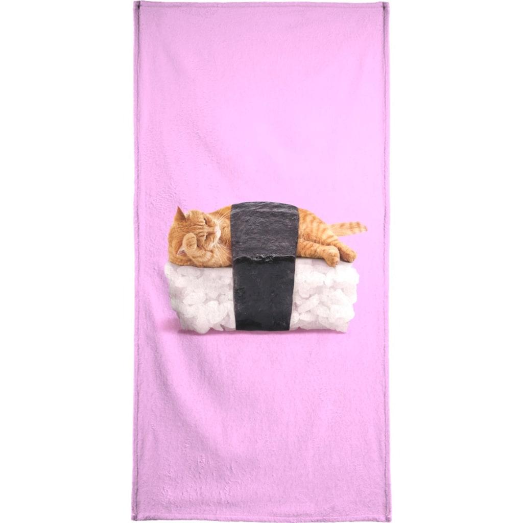 Juniqe Handtuch »Sushi Cat«, (1 St.), Weiche Frottee-Veloursqualität