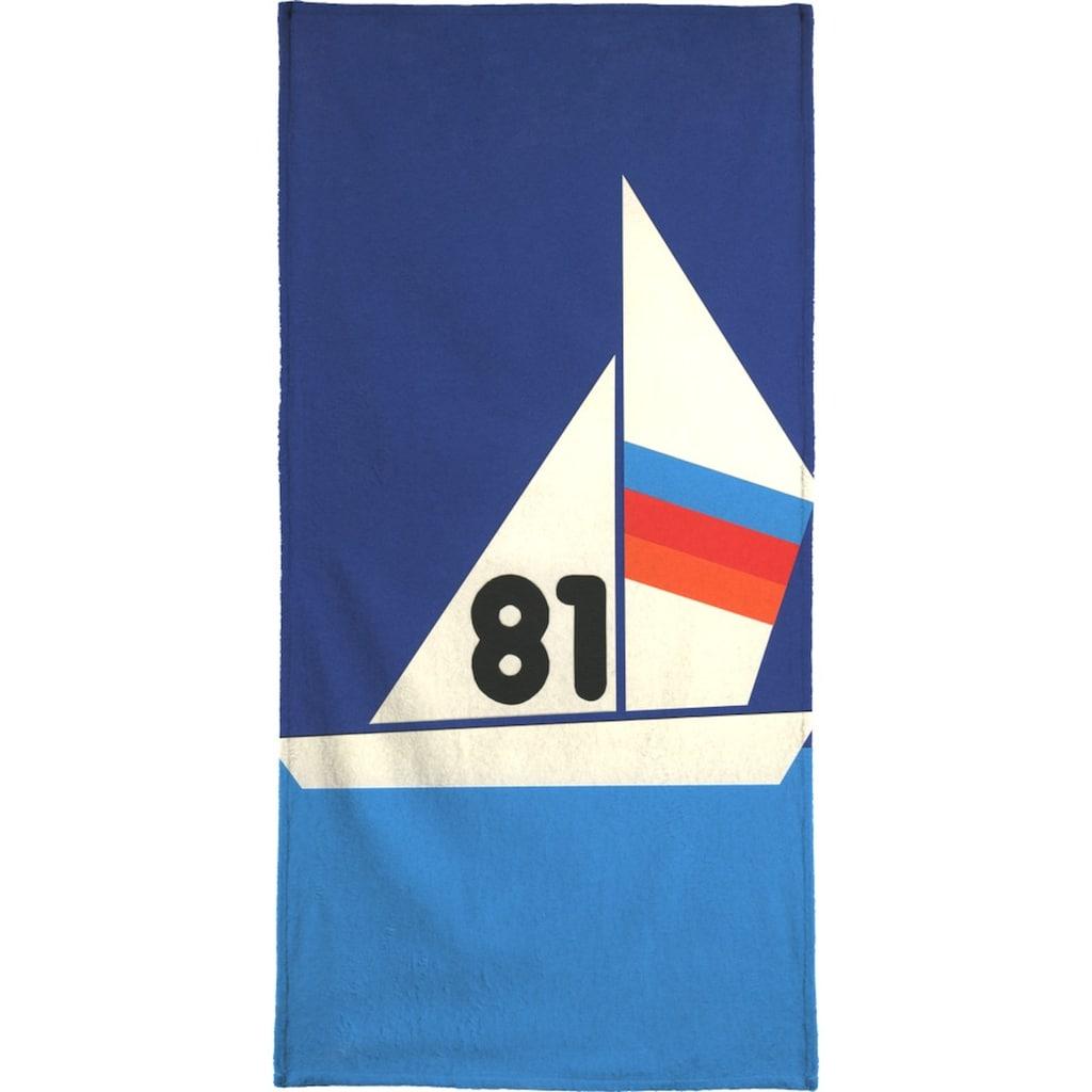 Juniqe Handtuch »Sailing Regatta 81«, (1 St.), Weiche Frottee-Veloursqualität