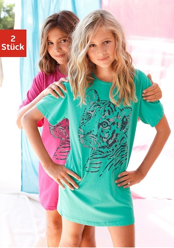 Nachthemd, (2 tlg.), bequem mit coolem Raubtierdruck kaufen