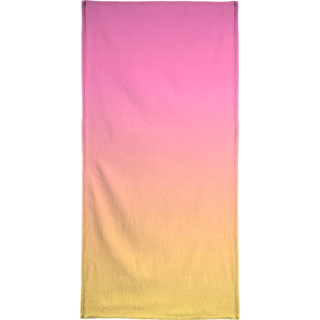 Juniqe Handtuch »A Flamingo Sunset«, (1 St.), Weiche Frottee-Veloursqualität
