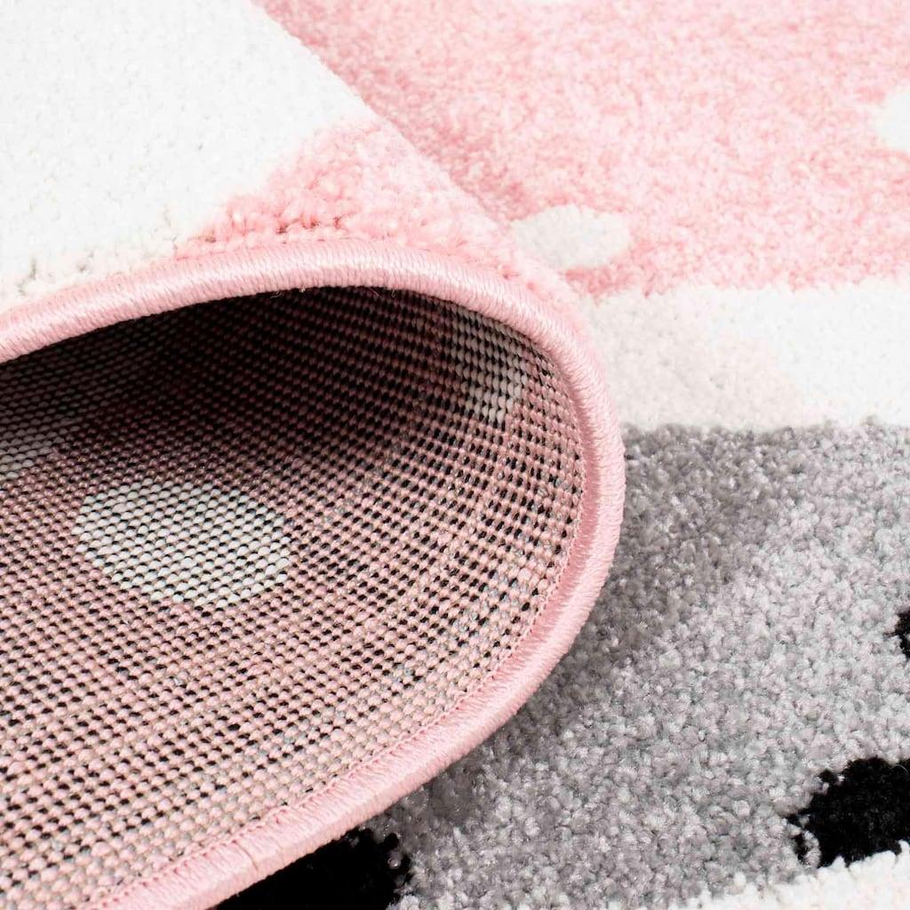 Carpet City Kinderteppich »Bubble Kids 1316«, rechteckig, 11 mm Höhe, Hasen Design in pastell Farben