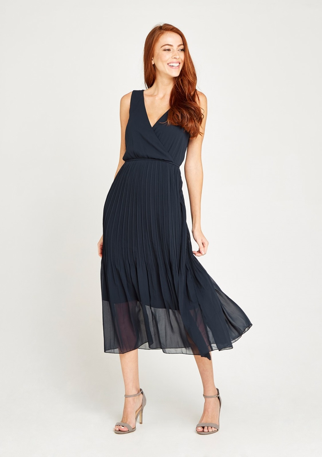 Image of Apricot Chiffonkleid »Chiffon Plisse Midi Dress«