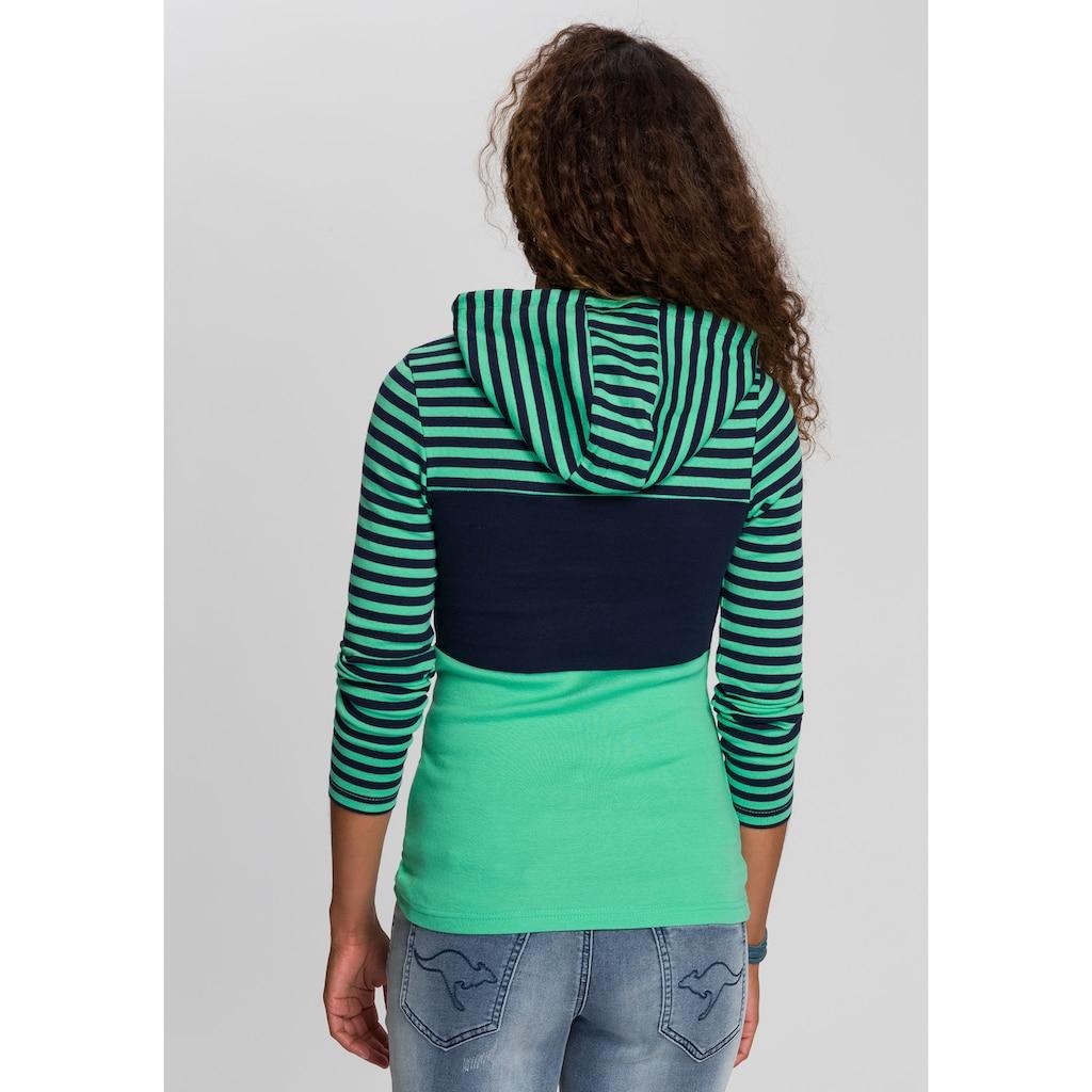KangaROOS Kapuzenshirt, in verspielter Ringel-Optik mit Colorblocking Design
