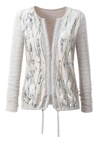 Création L Shirtjacke mit silberfarbenfarbigem Foliendruck kaufen