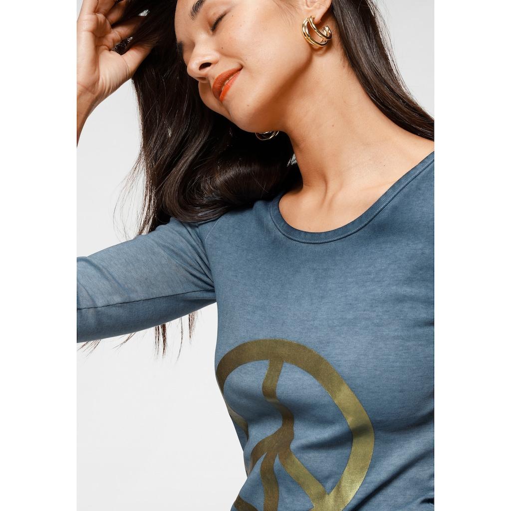 AJC Langarmshirt, mit Print und besonderer Used-Waschung