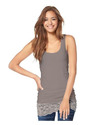 Lady Shirttop mit Spitzenbordüre am Saum kaufen