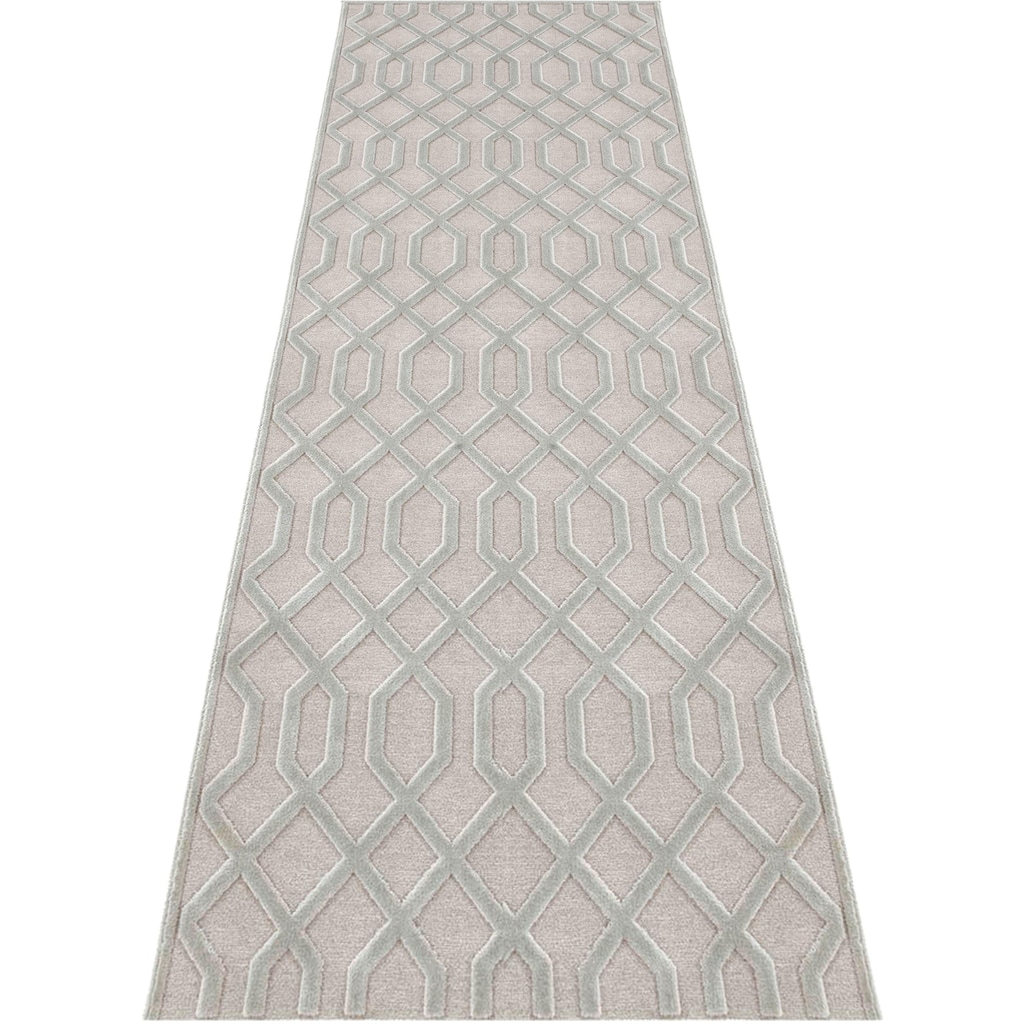 MINT RUGS Läufer »Caine«, rechteckig, 4 mm Höhe, Hoch-Tief-Effekt