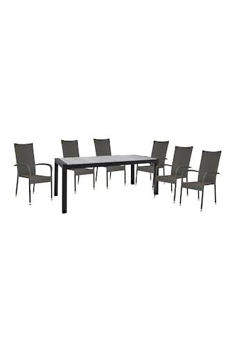 HOMEXPERTS Gartenmöbelset »Zypern«, 7 - tlg., 6 Stühle, Tisch 160/210x95 cm, Polyrattan kaufen